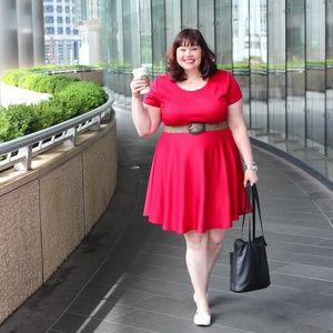 Society Plus Red Skater Dress - 18/20 (not belt)